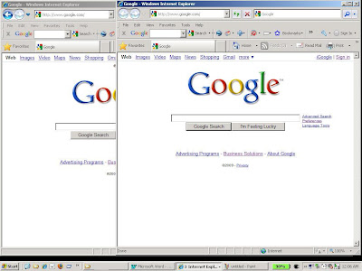 New IE8 browser window opened with a blank session waiting for a new Gmail login.
