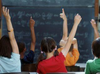 School children raising hands