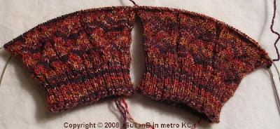 2 pattern repeats of knee sock