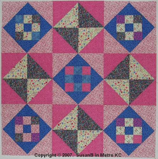 9-patch with Hourglasses quilt top