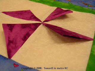 closeup of 3D pinwheel block