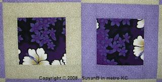Framed Purple Floral quilt blocks