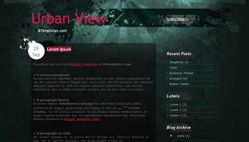 Urban View Blogger Template