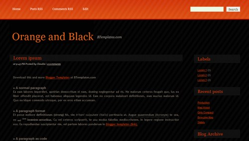 Orange and Black Blogger Template