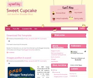 Sweet Cupcake Blogger Template