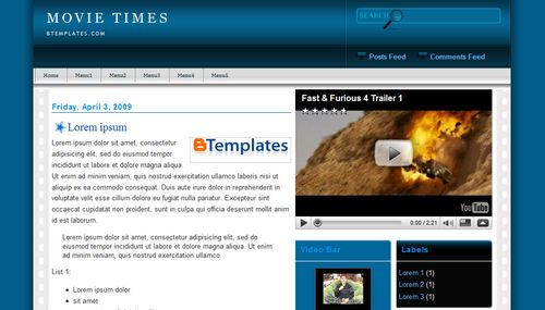 Movie Times Blogger Template