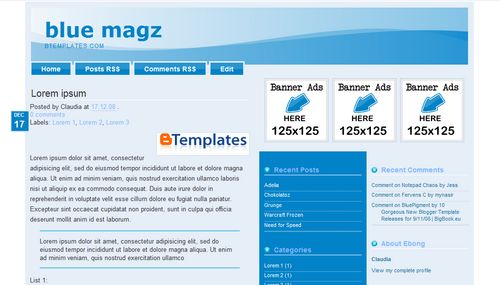 Blue Magz Blogger Template