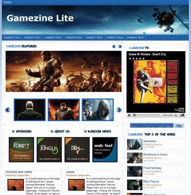 Gamezine white Blogger Template