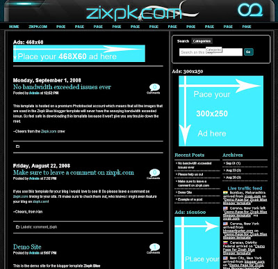 Zixpk Blue Blogger Template