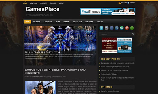 Games Place Blogger Template