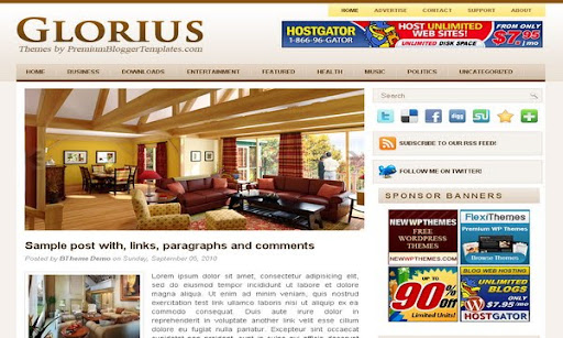 Glorius Blogger Template
