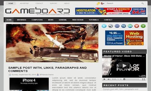 GameBoard Blogger Template