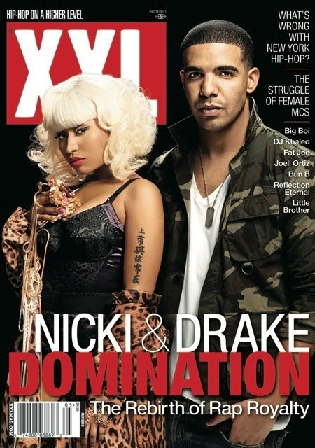 A blonde Nicki Minaj (alongside Drake) covers the latest issue of XXL.