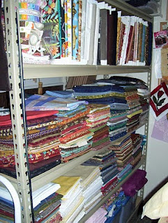 Here's a view of cotton quilting fabric on my shelf.