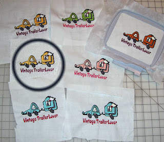 Here's a group shot of embroideries for travel trailer pillows.