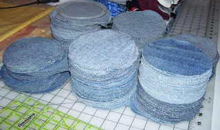 Cut out denim circles for a Jeans Quilt