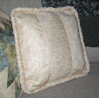 Home Dec Pillow #2 front view with pin tucks, welting and twin welting