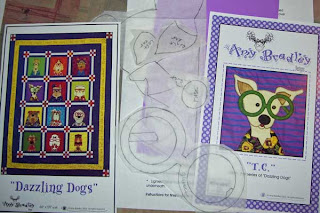 Dazzling Dogs pattern pieces drawn on fusible web.