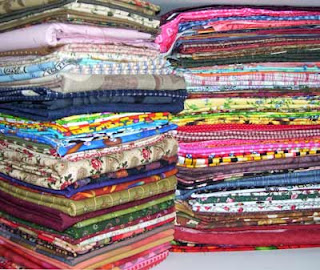 A stack of fabric from my stash.