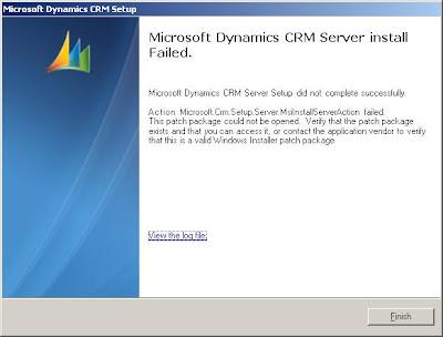 CRM Novice: Microsoft Dynamics CRM Server Setup did not complete