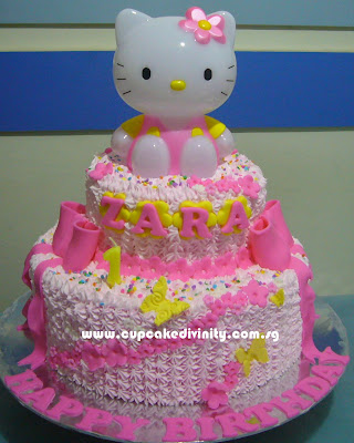 Cupcake Divinity 2 Tier Hello Kitty Zara Birthday Cake