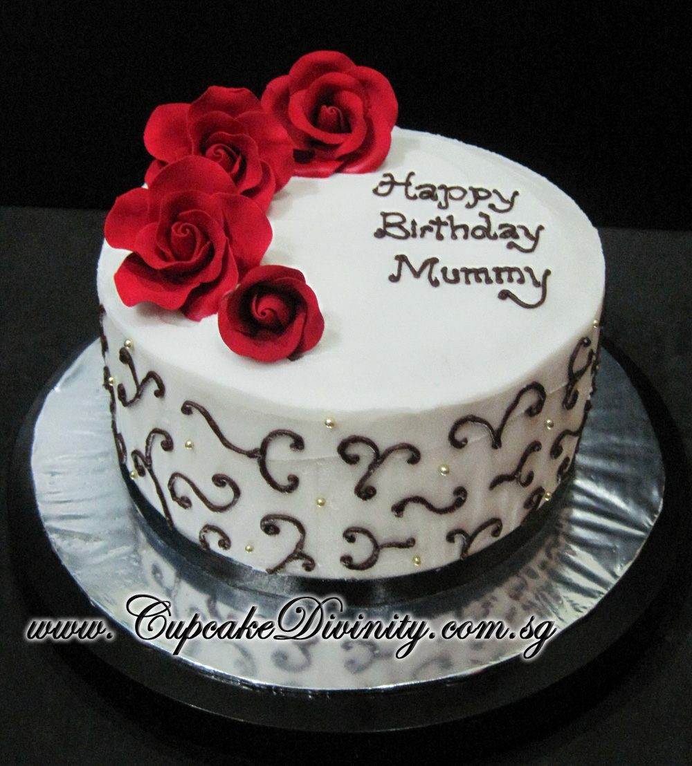 Cupcake Divinity Customised Happy Birthday Mummy Roses Theme Cake