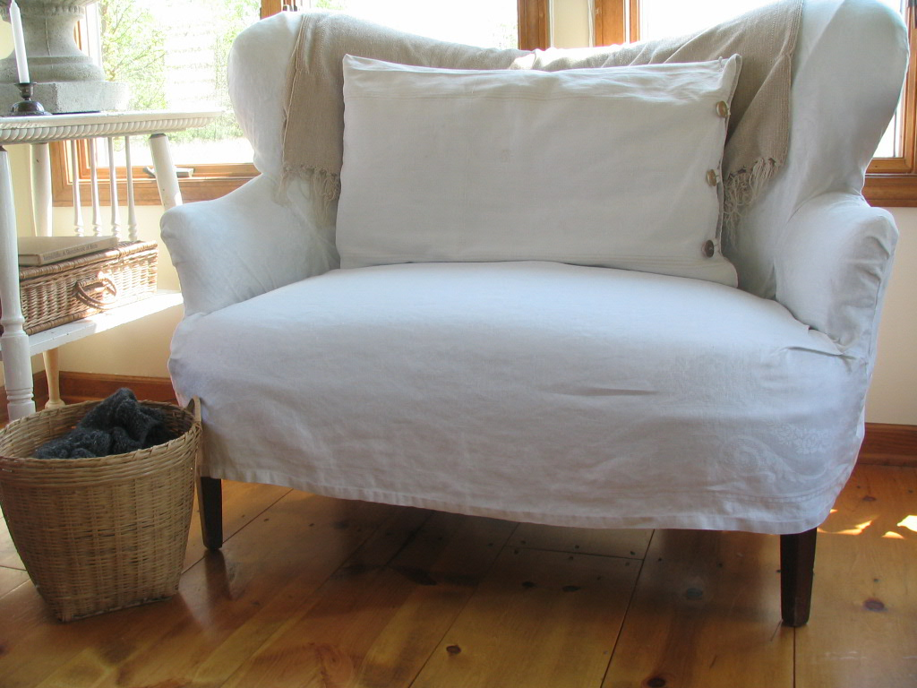 Making A Slipcover From Old Linen Tablecloths