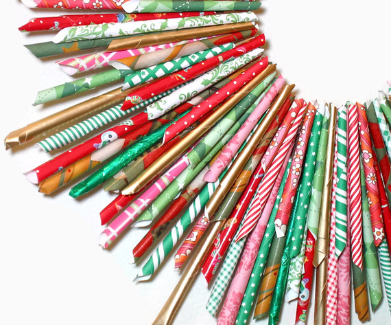 recycled wrapping paper We're still on a bit of a bead theme & have been making our own for more threading fun these paper beads were made from recycled wrapping paper & old magazines.