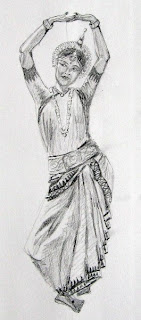 odissi dancer pencil sketch