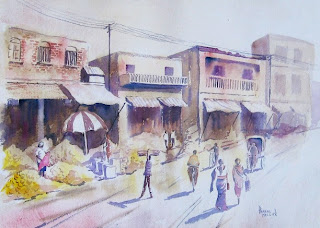 Market scene with melons watercolor