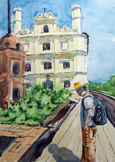 Kumar at St Francis church - watercolor