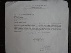 """Autorización para el Taller de Poesía del Director del Hospital """"Braulio Moyano"""" - Año 2007"""