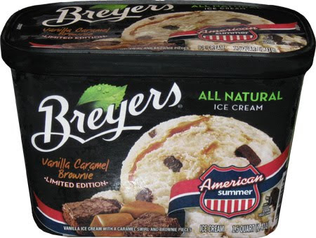 Breyer's Vanilla Caramel Brownie flavoured ice cream
