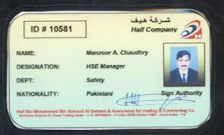 ID Card Of Haif Company EPC Contractor Saudi Aramco At Shaybah Exp Projects KSA