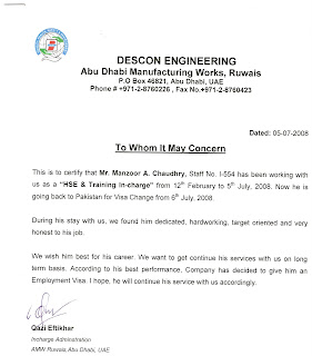 experience letter of descon engg uae