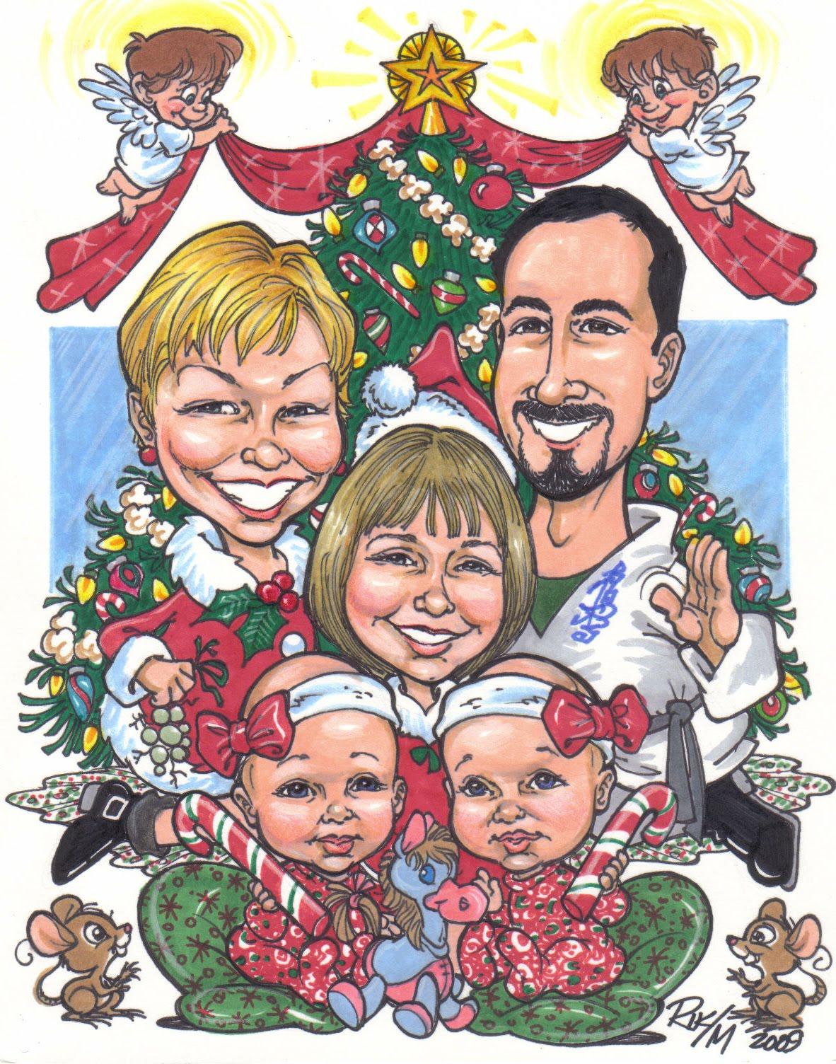 Идеи для семейного шаржа фото