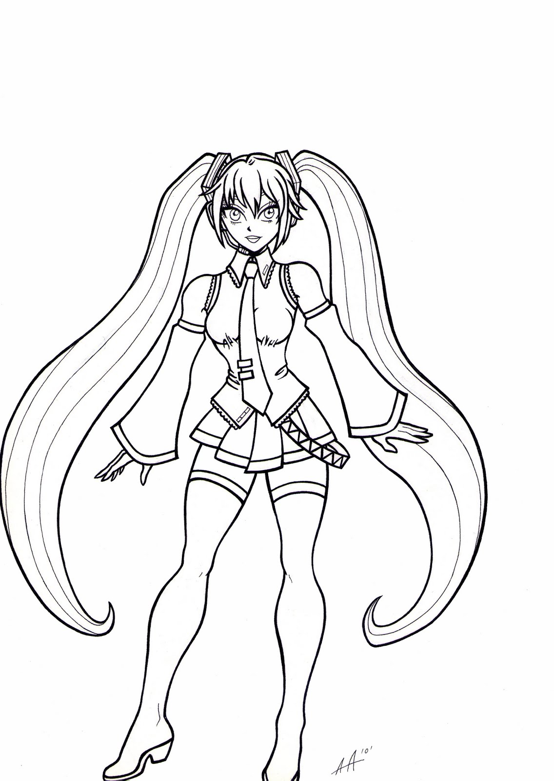 free hatsune miku para colorir coloring pages