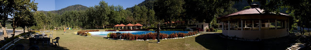 Panaroma posted by Ripple (VJ) : This has been created in Photoshop Elements 7.0 without any editing : Automatic : Panaromic View of RamGanga Resort, Corbett