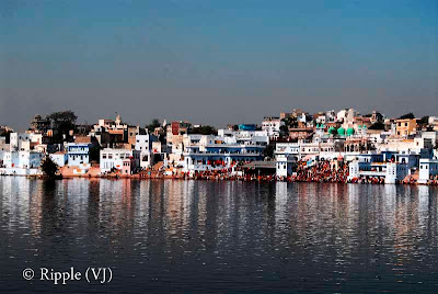 Posted by Ripple(VJ) : Glimpses of Pushkar-Ghats around Puhkar-Lake during Camel Fair-2008 (Pushkar Lake is actually surrounded by different Ghats/Temples... ):: A View of Bramh-Ghat from Pushkar-Fort Hotel...