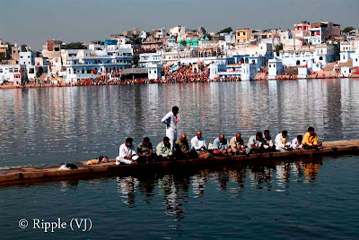Posted by Ripple(VJ) : Glimpses of Pushkar-Ghats around Puhkar-Lake during Camel Fair-2008 (Pushkar Lake is actually surrounded by different Ghats/Temples... ):: Pooja @ Jaipur Ghat, Pushkar