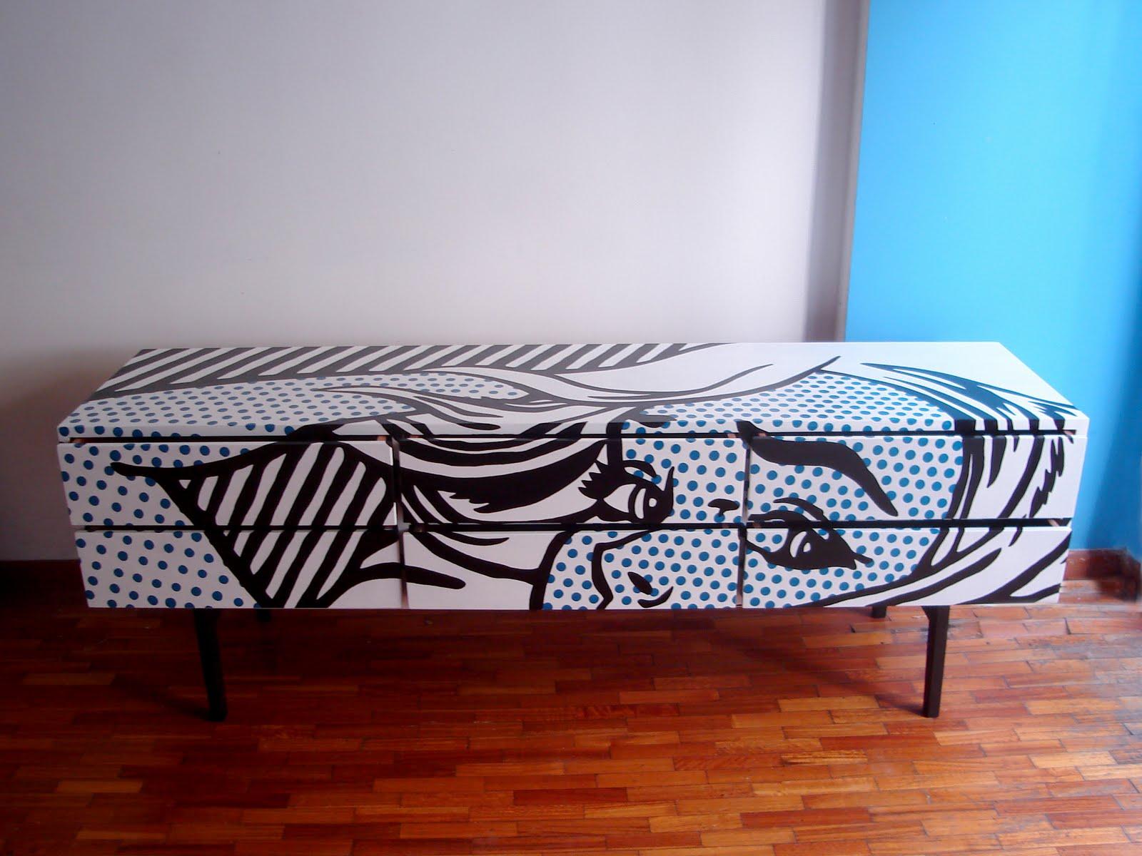 Xamoralarte muebles intervenidos ponele arte a tu vida for Muebles pop art