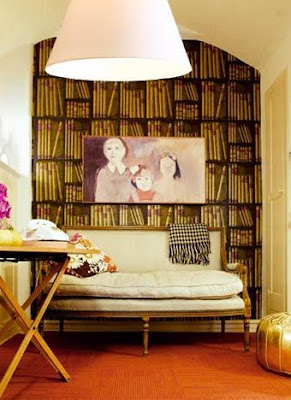Gary Spain Designer office bookcase wallpaper gold pouf