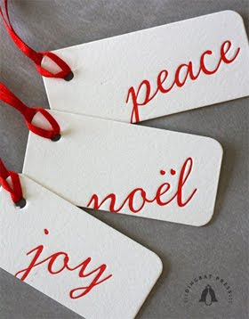 Letterpress Holiday tags, Joy Peace Noel