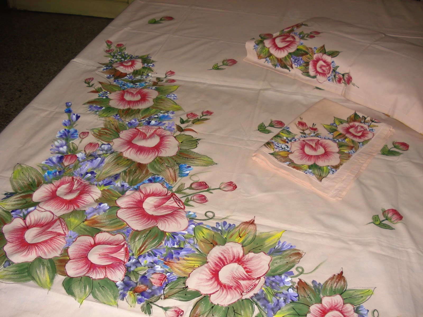 Bed Sheets Designs Fabric Painting Rose Petals Free Hand Design On