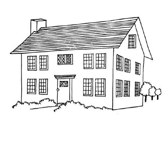 educational house coloring pages