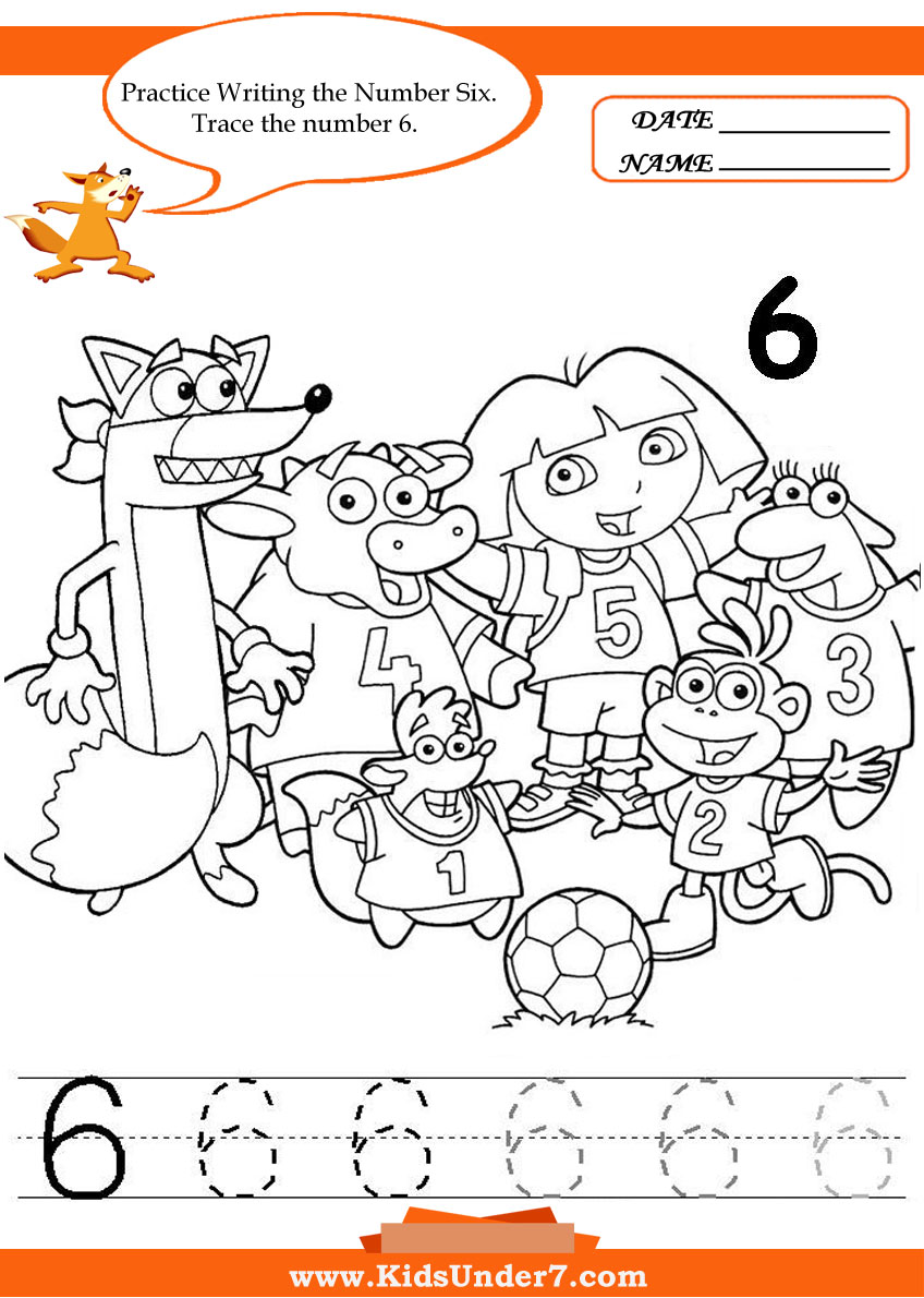 math worksheet : kids under 7 writing numbers worksheets : Number 6 Worksheets For Kindergarten