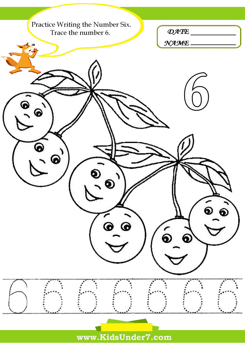 Kids Under 7: Number Tracing -1-10 – Worksheet. Part 2