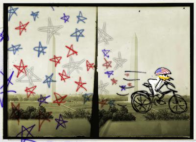James Bowthorpe passes the Washington Monument as he cycles through Washington D.C.