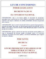 Haga CLICK abajo para accesar a la LEY DE CONCESIONES de Honduras