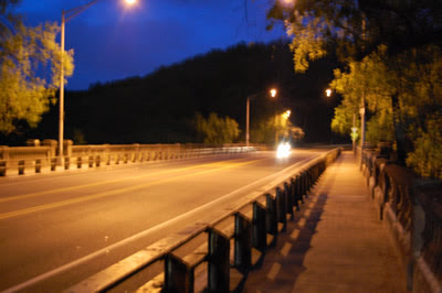 Walnut Lane Bridge at night.